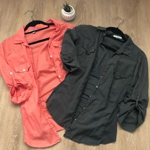 James Perse Contrast Panel Button Down Shirts (2)